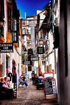 Busy alley in Cordoba, Spain, I am sure we walked down this very alley way. Awesome!!