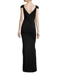 TAL6C Donna Karan Cap-Sleeve Pleated-Front Gown, Black