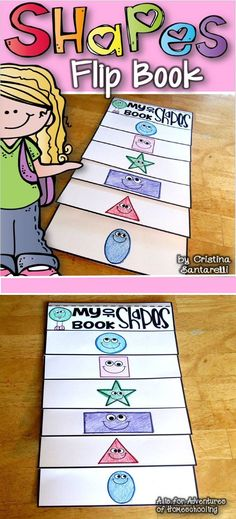 My Book of Shapes - make this adorable shape flip books with your students. Teaching Shapes, Teaching Math, Maths, Math Games, Math Resources, Preschool Activities, Preschool Shapes, Shape Activities, Preschool Poems