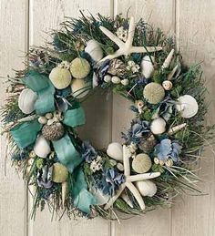 seashore wreath..now I know what to do with all of my seashells from Wrightsville!