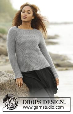 "Knitted DROPS jumper, worked top down with raglan and textured pattern in ""Kid-Silk"". Size: S - XXXL. Free pattern by DROPS Design."