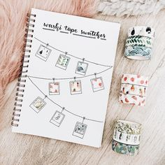 A really good idea inspired by for your bullet journal to create collection for your washi tape. Are you addicted to washi tape ? You can discover our collection in our online store. Bullet Journal 2018, Bullet Journal Washi Tape, Bullet Journal Ideas Pages, Bullet Journal Inspiration, Doodle Art Letters, Doodles, Bullet Journal Aesthetic, Free Gifts, Amazing