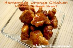 Homemade orange chicken recipe - tangy orange sauce with crispy fried chicken. I skipped the sauce recipe and bought gluten free orange sauce (asian glaze and stir-fry) by SAN-J ! Coconut Recipes, Paleo Recipes, Asian Recipes, Real Food Recipes, Chicken Recipes, Cooking Recipes, Ethnic Recipes, Free Recipes, Yummy Recipes
