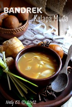 Bandrek Kelapa Muda - coconut, palm sugar, cinnamon, ginger warm drink, indonesian drink