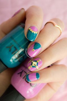 Pink and teal nails with ORLY teal unreal. Click for nail art how-to. #nailart #orly