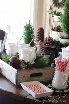 Great table setting that doesn't scream Christmas but is definitely winter and holiday!