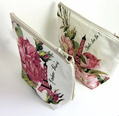Zip Pouch Eiffel Tower on Vintage Pink Roses by modernandvintage, £13.50