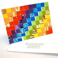 Rainbow Recycled Art Note Card  Mosaic Quilt Collage Gay Pride by Fuffalumps
