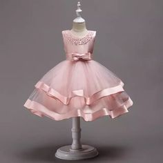 Beaded Tiered Dress-Beautiful & Cheap Round Neckline Sleeveless Knee Length Tiered Layered Infant Toddler Little & Big Girl Party Dress. Kids Pageant Dresses, Girls Formal Dresses, Wedding Dresses For Girls, Little Girl Dresses, Elegant Dresses, Dresses For Children, Girls Party Dresses, Baby Pageant, Bridesmaid Dresses