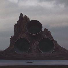 Volcano. Digital art. 2015. #Art #DigitalArt #ContemporaryArt #YuriShwedoff #PostApocalyptic #Surreal #Space