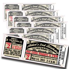 Ticket invitations for baseball themed party