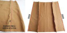 DIY | Cómo hacer una falda con botones delanteros - Miscelánea DIY Diy Clothing, Clothing Patterns, Sewing Hacks, Sewing Projects, Fashion Sewing, Sewing Techniques, Diy Tutorial, Hair Beauty, Couture