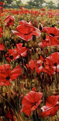 Siena Poppies II by Caroline Zimmermann, Oil on Canvas, 61cmx30cm THIS PAINTING IS SOLD