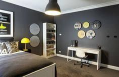 Wall color and bookshelf, bed is cool