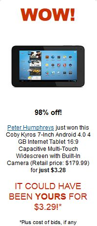 Coby kyros Android for $3.28 Wow!