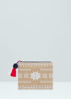 Embroidered jute cosmetic bag - More accessories for Woman | MANGO United Kingdom