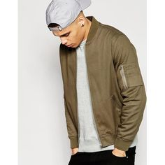 ASOS Bomber Jacket With MA1 Pocket in Light Khaki ($65) ❤ liked on Polyvore featuring men's fashion, men's clothing, men's outerwear, men's jackets, green, mens zip up jacket, mens green jacket, mens khaki jacket, asos mens jackets and mens green bomber jacket