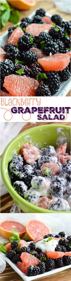 Start your day with this Easy Fresh Fruit Salad Recipe. A simple combination of sweet blackberries, tangy grapefruit, fresh mint and creamy Greek yogurt. The perfect healthy breakfast, snack or side dish! (simple meals for two greek yogurt) Fresh Fruit Salad, Fruit Salad Recipes, Fruit Salad With Yogurt, Side Salad Recipes, Jello Salads, Healthy Snacks, Healthy Recipes, Fruit Snacks, Breakfast Healthy