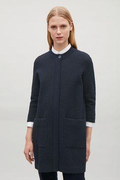 COS navy textured knit cardigan
