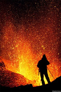 'Volcano Photography'  On a truck trip over Mýrdalsjökull glacier to the erupting volcano in Fimmvörðuháls, Iceland, photographed this unknown photographer capturing images of flaming hot lava (1200°C) bursting up in the air ~ by Skarphéðinn Þráinsson  skarpi - www.skarpi.is