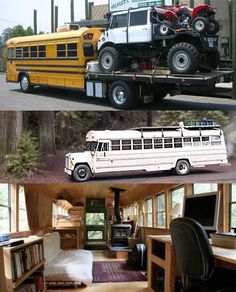 Gotta love fun bus conversions... we're thinking we could live and work in that white Camper one! RV boys would love the top ones, for their toys :)