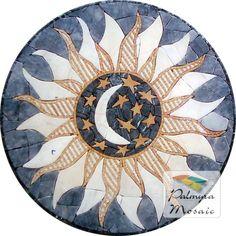 MD034 Marble Mosaic Sun & Moon Medallion Tile