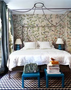Wallpaper + Canopy Bed + Madeline Weinrib Zig Zag Cotton Carpet (Bedroom By Miles Redd)