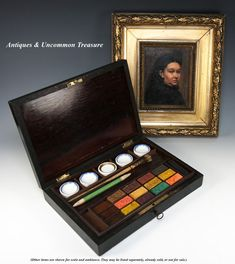 Antique French Water Color Paint Set, Wood Box, Chest, Aquarelle from antiques-uncommon-treasure on Ruby Lane