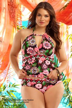 BECCA ETC plus size swimwear Blossoms Floral Reverse Tankini with Floral Reverse Hipster