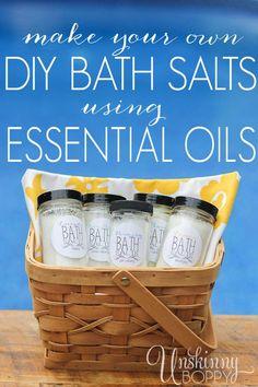 DIY Bath Salts using essential oils.. so easy to make and such a great gift idea!  www.unskinnyboppy.com