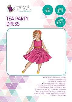 Tea Party Dress PDF Pattern Sizes:0 (6-12months) -8 Skill Level:Intermediate Format:Downloadable PDF (instant download) Description: With over 190 UNIQUE combinations possible in this pattern, theTea Party Dress will quickly become you go-toparty dress! It hasso…