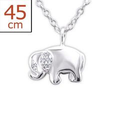 Small Elephant Real Sterling Silver Necklace With Clear Stones
