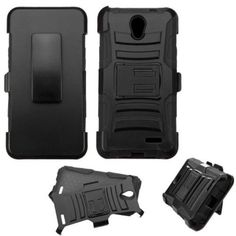 Insten Symbiosis Hard Hybrid Plastic Silicone Cover Case w/Holster For ZTE Chapel - Black