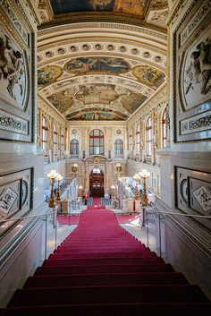 The staircase entrance to the Burgtheater in Vienna, Austria