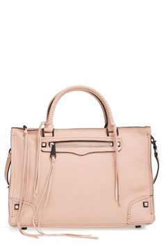 In love with this Rebecca Minkoff tote bag. The leather is so soft, yet the bag still stays up when you set it down. The outside pocket is perfect for a phone. The blush is a perfect neutral color.