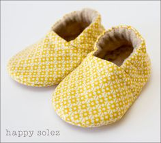 Light Yellow Pattern  Eco Friendly Baby Booties by HappySolez, $24.00