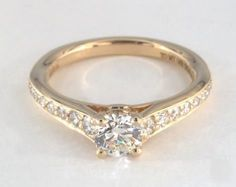 .6ct Pave Round Engagement Ring Yellow Gold