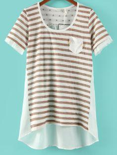 Coffee and White Stried Short Sleeve Contrast Chiffon Back  T-shirt - Sheinside.com
