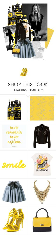 """""""Hypnotised"""" by thisislettie ❤ liked on Polyvore featuring Monde Mosaic, Timorous Beasties, Balmain, Gucci and Miu Miu"""