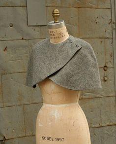 Fashion Accessories Wool Caplet No 2 Gray Made to Order by artlab Look Fashion, Diy Fashion, Winter Fashion, Vintage Fashion, Fashion Outfits, Fashion Design, Fashion Hair, Diy Clothing, Sewing Clothes