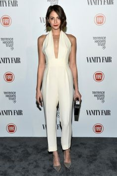 Arrow's Willa Holland looked elegant in a perfectly-tailored cream Gucci jumpsuit