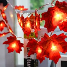 Autumn Garland Fall Garland Fall Maple Leaf Garland Maple Leaves Fall Lights Maple Leaf Lighted Garland Thanksgiving Decor Halloween Table Fall Maple Leaf Garland 20 LED Maple Leaves Fairy Lights Feet Fall Garland Lights Waterproof Maple L. Decorating With Christmas Lights, Christmas Party Decorations, Thanksgiving Decorations, Light Decorations, Thanksgiving Table, Thanksgiving Birthday, Christmas Birthday, Fall Garland, Light Garland