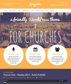 This church WordPress theme features Slider Revolution, Visual Composer, a premium image gallery plugin, a responsive layout, WooCommerce support, easy color and font customization, Contact Form 7 support, and more.