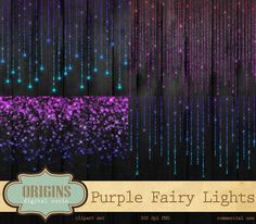 Purple Fairy Lights Clipart Bokeh String Clip Art Glittering Christmas Photoshop Sparkle Brushes Instant Download