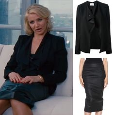 cameron diaz other woman movie black leather pencil skirt draped blazer jacket office