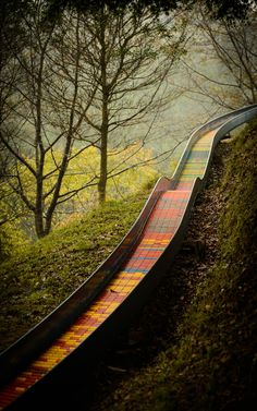 Rainbow mountain slide in Japan
