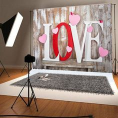 Wood Wall Photography Backdrops Love Valentine by ArtBackground