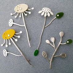 Silver and Bakelite Daisy Pin Brooch -Charlotte Whitmore
