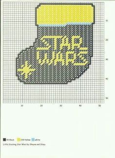 LITTLE STOCKING STAR WARS by SHAYNE AND STACY Plastic Canvas Ornaments, Plastic Canvas Christmas, Plastic Canvas Crafts, Plastic Canvas Patterns, Needlepoint Stockings, Needlepoint Patterns, Cross Stitch Patterns, Hama Beads, Star Wars Christmas Tree