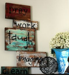 Neat wood signs. @Samantha @AbdulAziz Bukhamseen Home Sweet Home Blog @عبدالعزيز الجسار Bukhamseen Home Sweet Home Blog Jaramillo - if you make these - you should make 2 of everything for me! :)
